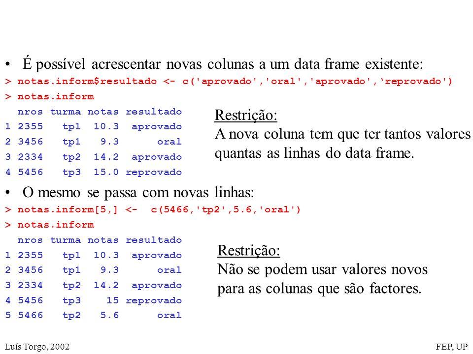 Luís Torgo, 2002FEP, UP É possível acrescentar novas colunas a um data frame existente: > notas.inform$resultado <- c( aprovado , oral , aprovado ,reprovado ) > notas.inform nros turma notas resultado 1 2355 tp1 10.3 aprovado 2 3456 tp1 9.3 oral 3 2334 tp2 14.2 aprovado 4 5456 tp3 15.0 reprovado O mesmo se passa com novas linhas: > notas.inform[5,] <- c(5466, tp2 ,5.6, oral ) > notas.inform nros turma notas resultado 1 2355 tp1 10.3 aprovado 2 3456 tp1 9.3 oral 3 2334 tp2 14.2 aprovado 4 5456 tp3 15 reprovado 5 5466 tp2 5.6 oral Restrição: A nova coluna tem que ter tantos valores quantas as linhas do data frame.