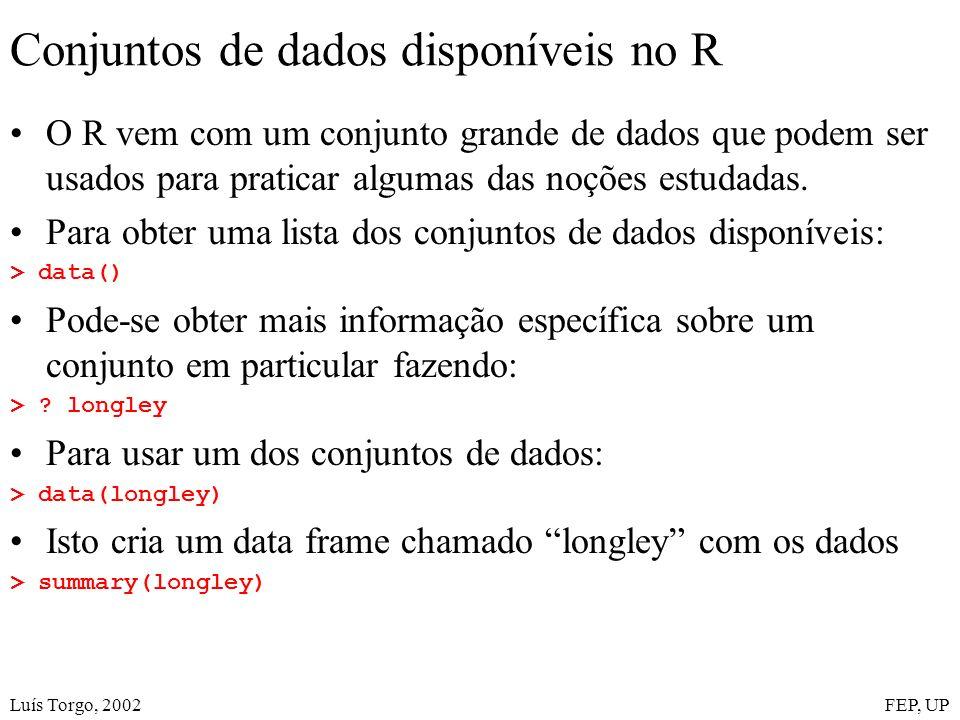 Luís Torgo, 2002FEP, UP Conjuntos de dados disponíveis no R O R vem com um conjunto grande de dados que podem ser usados para praticar algumas das noções estudadas.