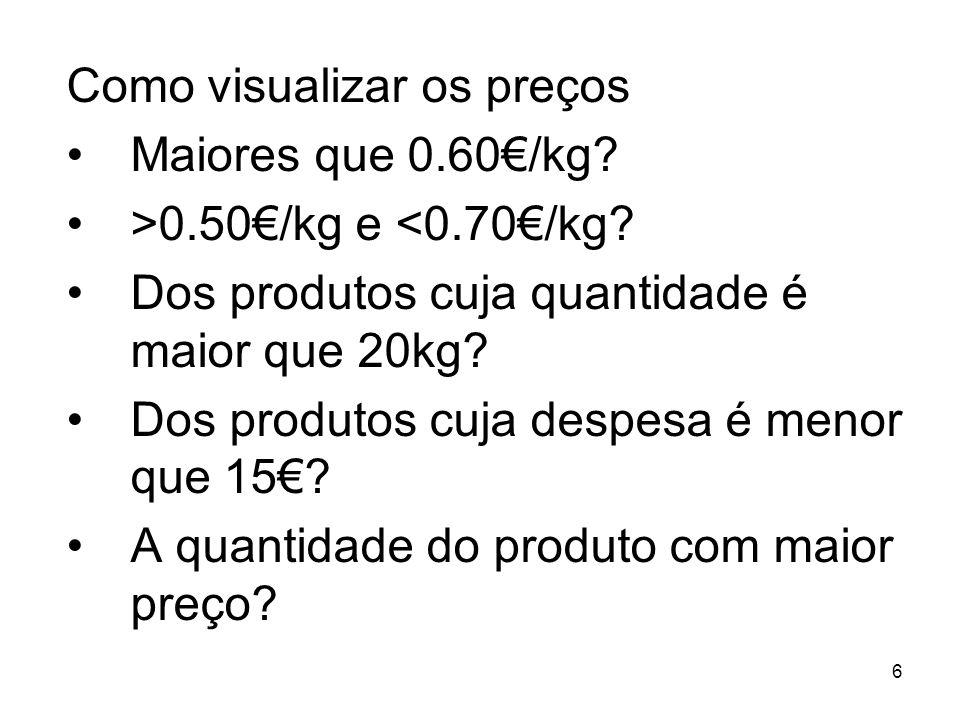 6 Como visualizar os preços Maiores que 0.60/kg. >0.50/kg e <0.70/kg.