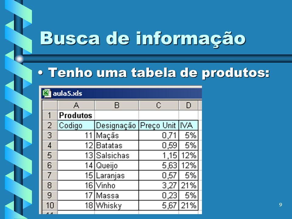 9 Busca de informação Tenho uma tabela de produtos:Tenho uma tabela de produtos:
