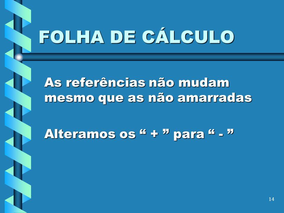 14 FOLHA DE CÁLCULO As referências não mudam mesmo que as não amarradas Alteramos os + para - Alteramos os + para -