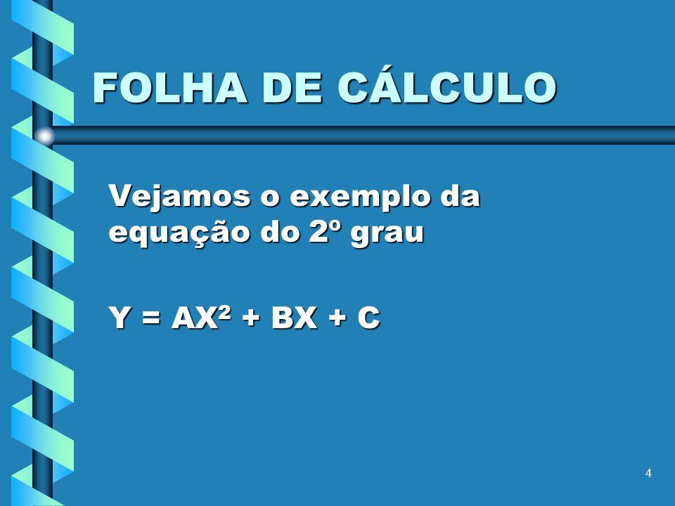 4 FOLHA DE CÁLCULO Vejamos o exemplo da equação do 2º grau Y = AX 2 + BX + C