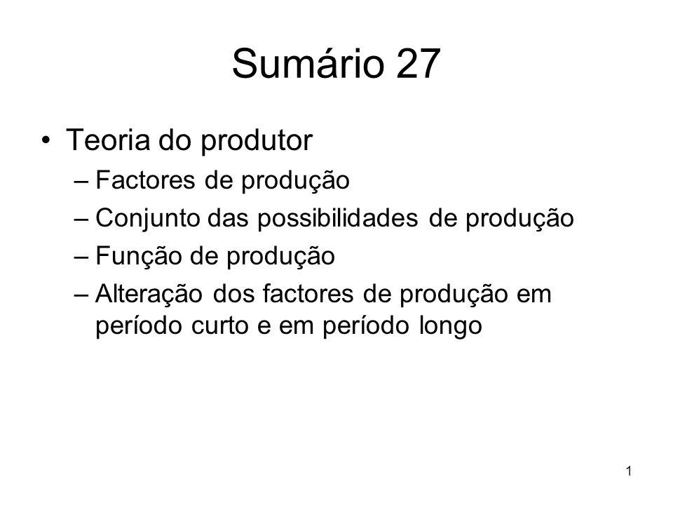 1 Sumário 27 Teoria do produtor –Factores de produção –Conjunto das possibilidades de produção –Função de produção –Alteração dos factores de produção