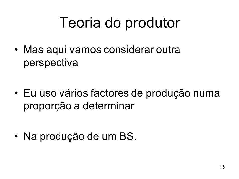 13 Teoria do produtor Mas aqui vamos considerar outra perspectiva Eu uso vários factores de produção numa proporção a determinar Na produção de um BS.