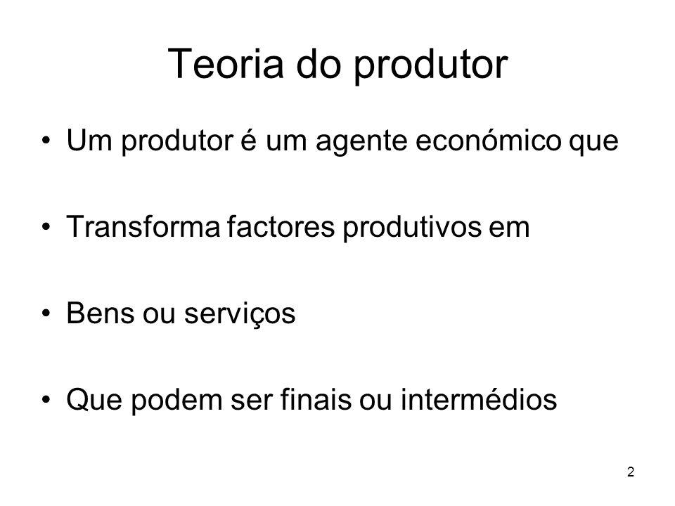 33 Teoria do produtor Vamos dividir as decisões dos produtores em Curto prazo Apenas alguns factores são alteráveis Longo prazo Todos os factores são alteráveis