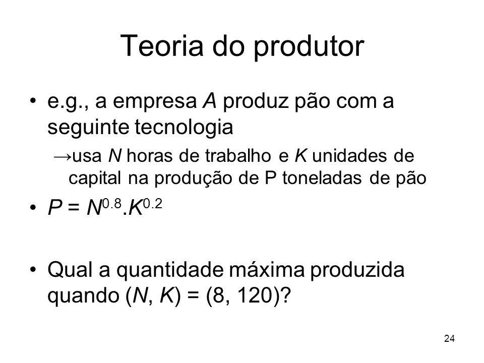 24 Teoria do produtor e.g., a empresa A produz pão com a seguinte tecnologia usa N horas de trabalho e K unidades de capital na produção de P tonelada