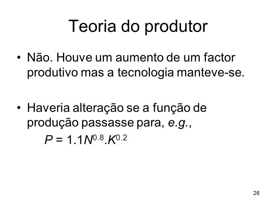 26 Teoria do produtor Não. Houve um aumento de um factor produtivo mas a tecnologia manteve-se. Haveria alteração se a função de produção passasse par