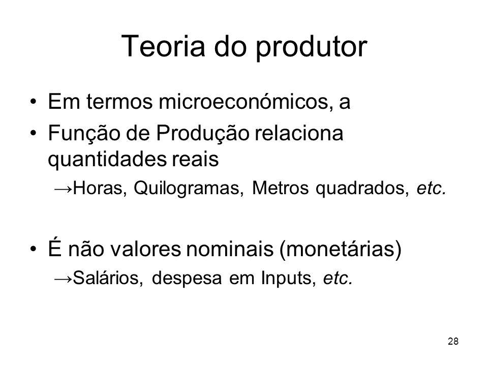 28 Teoria do produtor Em termos microeconómicos, a Função de Produção relaciona quantidades reais Horas, Quilogramas, Metros quadrados, etc. É não val