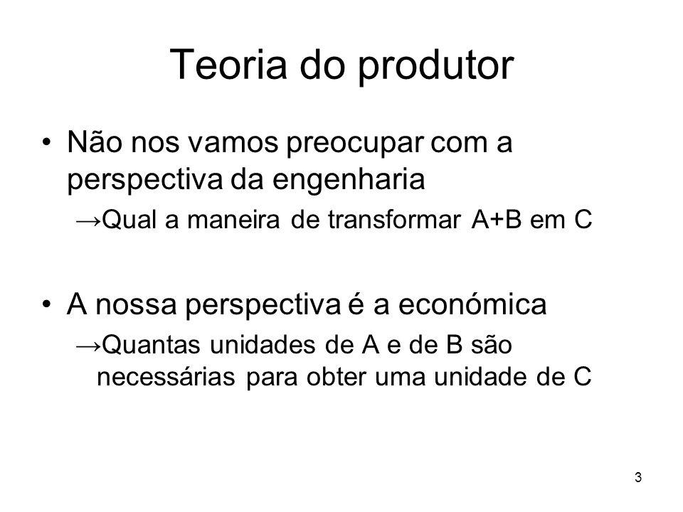 4 Teoria do produtor Factores produtivos incluem tudo o que é necessário à produção e.g., para produzir um pão é necessário Farinha + água + levedura + energia Instalações + fornos + batedeiras Trabalho