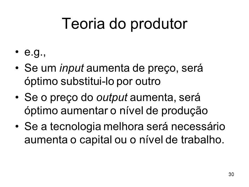 30 Teoria do produtor e.g., Se um input aumenta de preço, será óptimo substitui-lo por outro Se o preço do output aumenta, será óptimo aumentar o níve