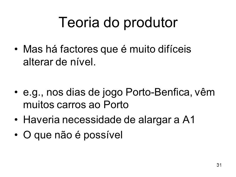 31 Teoria do produtor Mas há factores que é muito difíceis alterar de nível. e.g., nos dias de jogo Porto-Benfica, vêm muitos carros ao Porto Haveria