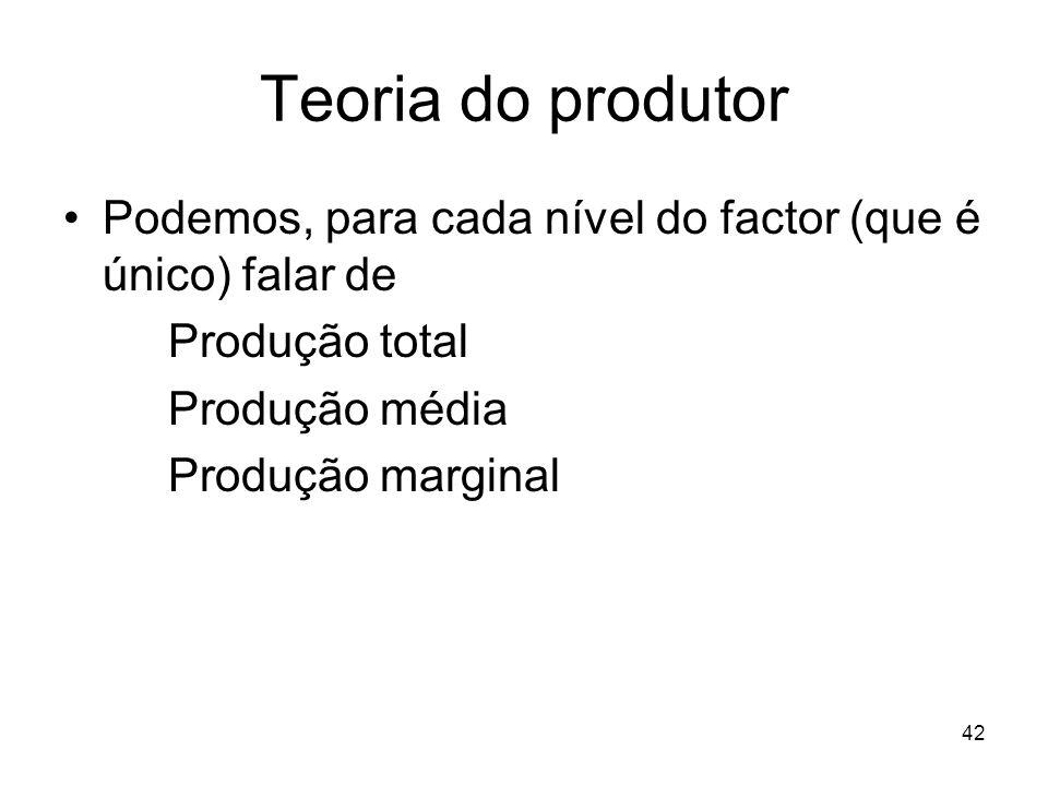 42 Teoria do produtor Podemos, para cada nível do factor (que é único) falar de Produção total Produção média Produção marginal