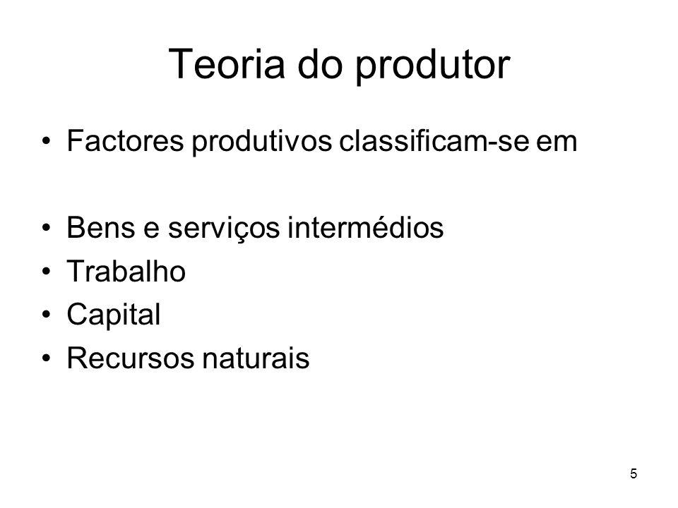 6 Teoria do produtor Os bens e serviços intermédios Resultam de outros produtores Que usam outros BS intermédios A concentração vertical consiste em se incorporar no processo produtivo o fazer desse BS intermédios