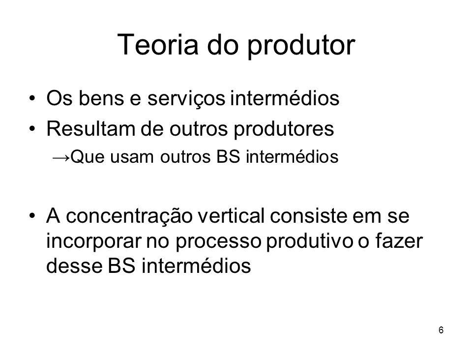 6 Teoria do produtor Os bens e serviços intermédios Resultam de outros produtores Que usam outros BS intermédios A concentração vertical consiste em s