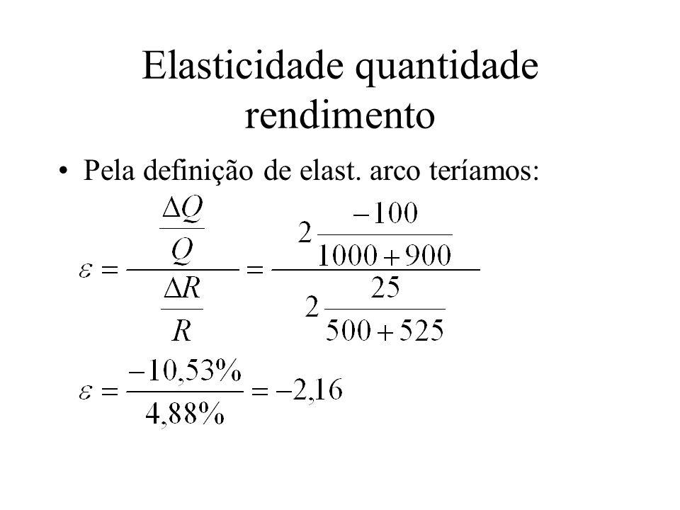 Elasticidade quantidade rendimento Pela definição de elast. arco teríamos: