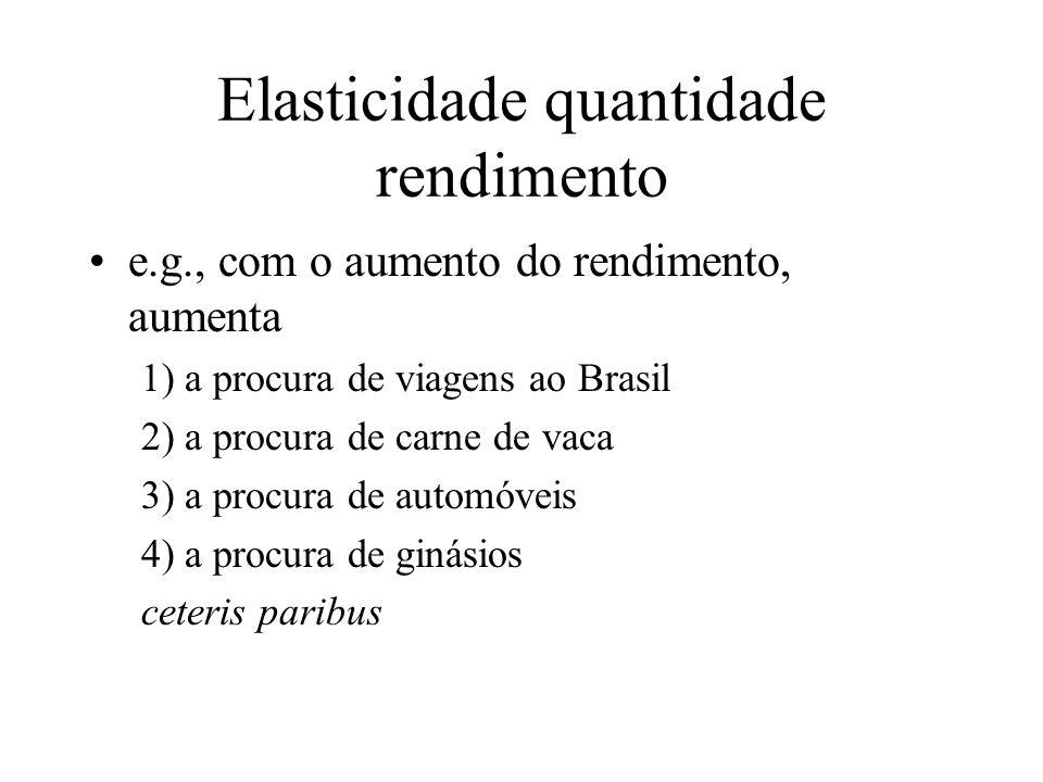 Elasticidade quantidade rendimento e.g., com o aumento do rendimento, aumenta 1) a procura de viagens ao Brasil 2) a procura de carne de vaca 3) a pro