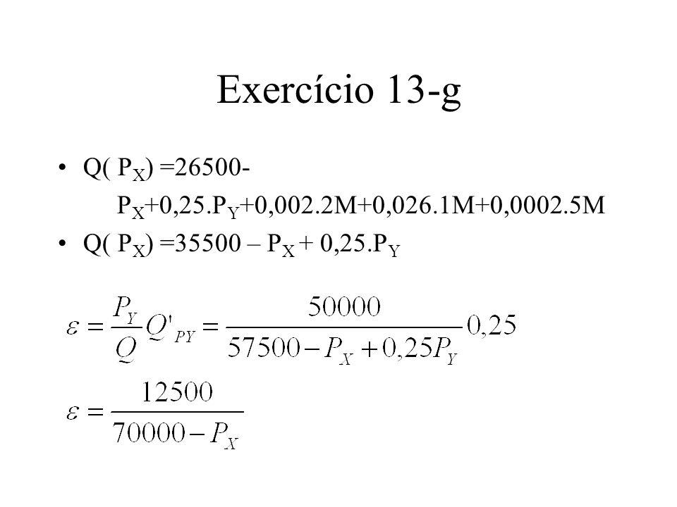 Exercício 13-g Q( P X ) =26500- P X +0,25.P Y +0,002.2M+0,026.1M+0,0002.5M Q( P X ) =35500 – P X + 0,25.P Y