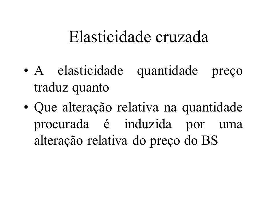 Elasticidade cruzada A elasticidade quantidade preço traduz quanto Que alteração relativa na quantidade procurada é induzida por uma alteração relativ