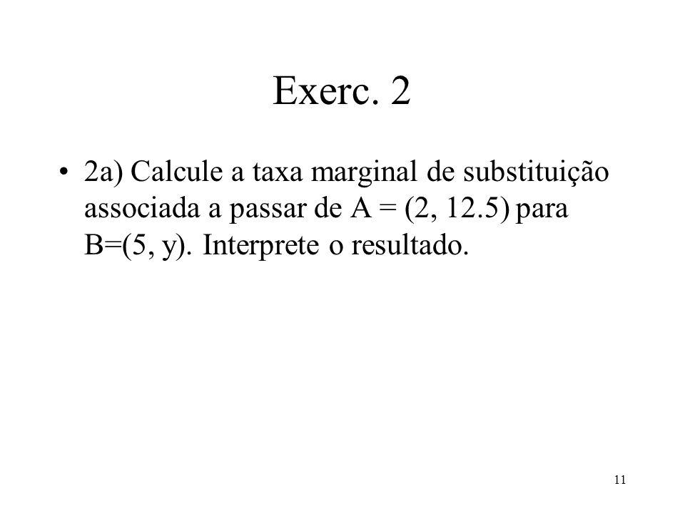 11 Exerc. 2 2a) Calcule a taxa marginal de substituição associada a passar de A = (2, 12.5) para B=(5, y). Interprete o resultado.