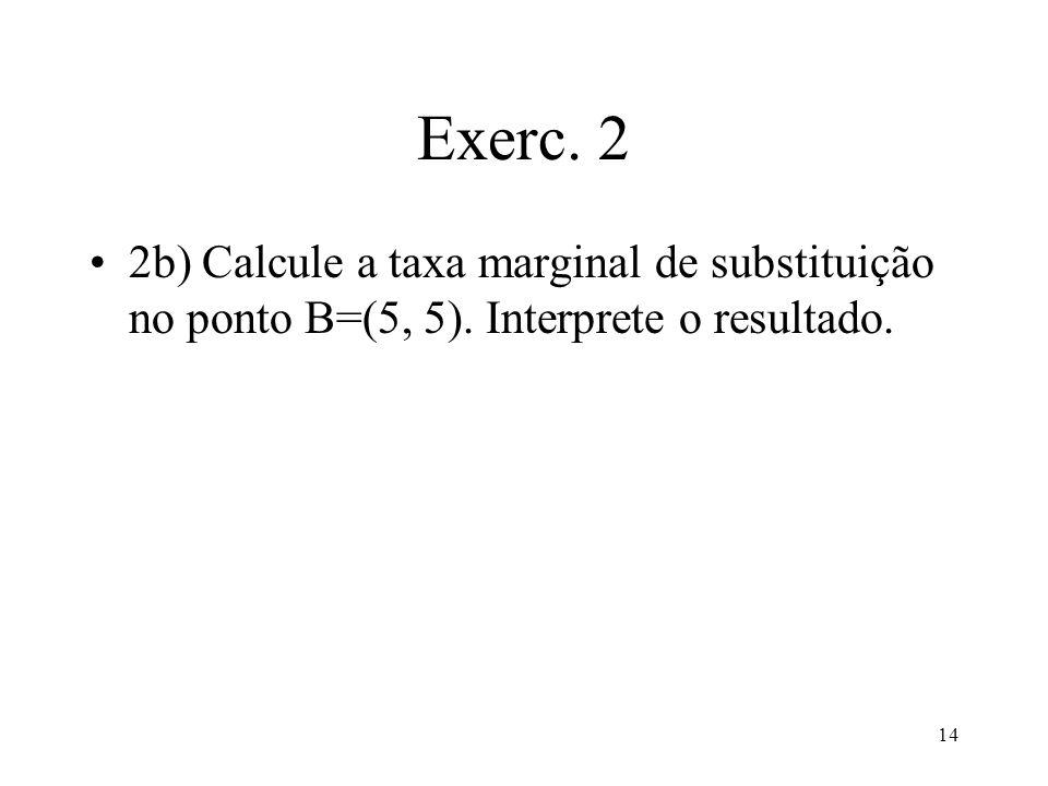 14 Exerc. 2 2b) Calcule a taxa marginal de substituição no ponto B=(5, 5). Interprete o resultado.