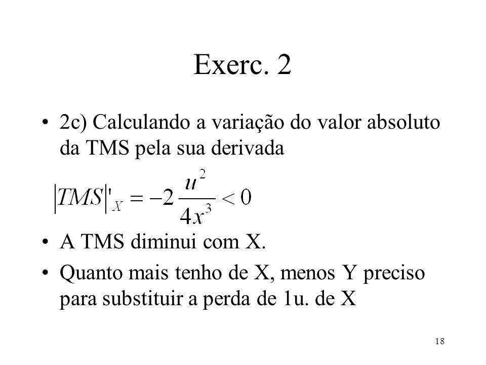 18 Exerc. 2 2c) Calculando a variação do valor absoluto da TMS pela sua derivada A TMS diminui com X. Quanto mais tenho de X, menos Y preciso para sub