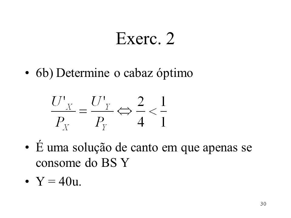30 Exerc. 2 6b) Determine o cabaz óptimo É uma solução de canto em que apenas se consome do BS Y Y = 40u.