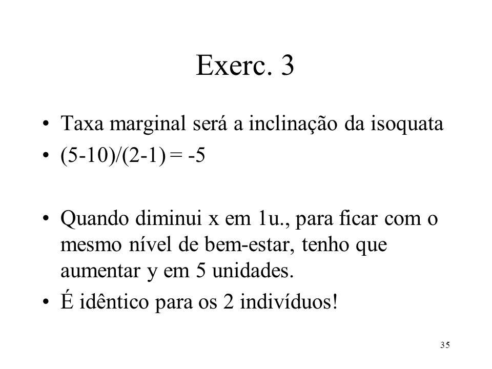 35 Exerc. 3 Taxa marginal será a inclinação da isoquata (5-10)/(2-1) = -5 Quando diminui x em 1u., para ficar com o mesmo nível de bem-estar, tenho qu