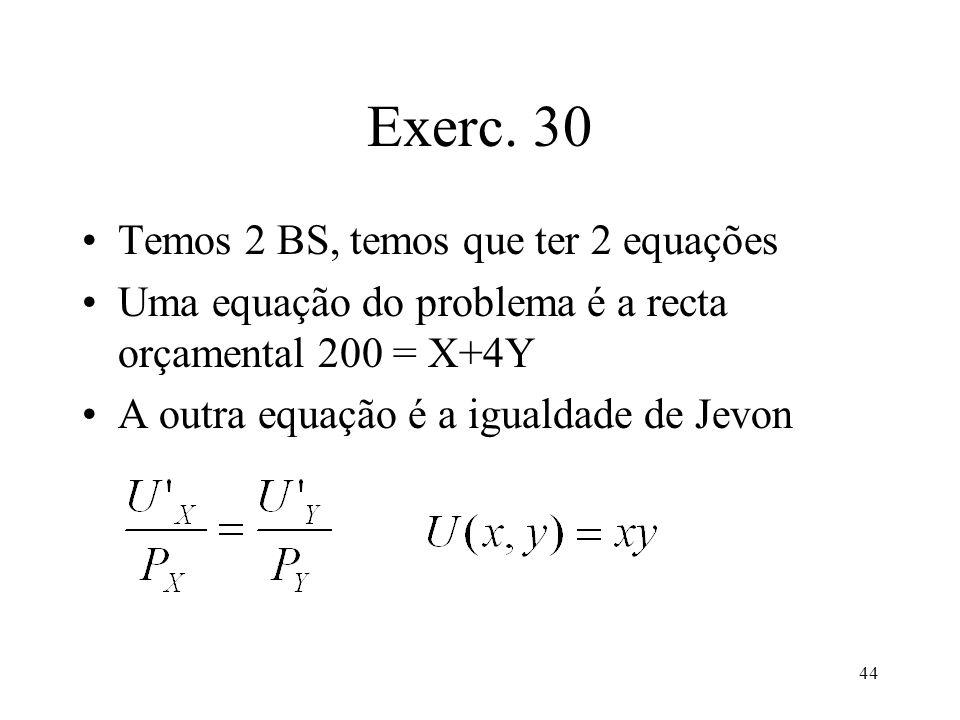 44 Exerc. 30 Temos 2 BS, temos que ter 2 equações Uma equação do problema é a recta orçamental 200 = X+4Y A outra equação é a igualdade de Jevon