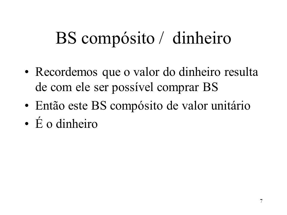 7 BS compósito / dinheiro Recordemos que o valor do dinheiro resulta de com ele ser possível comprar BS Então este BS compósito de valor unitário É o