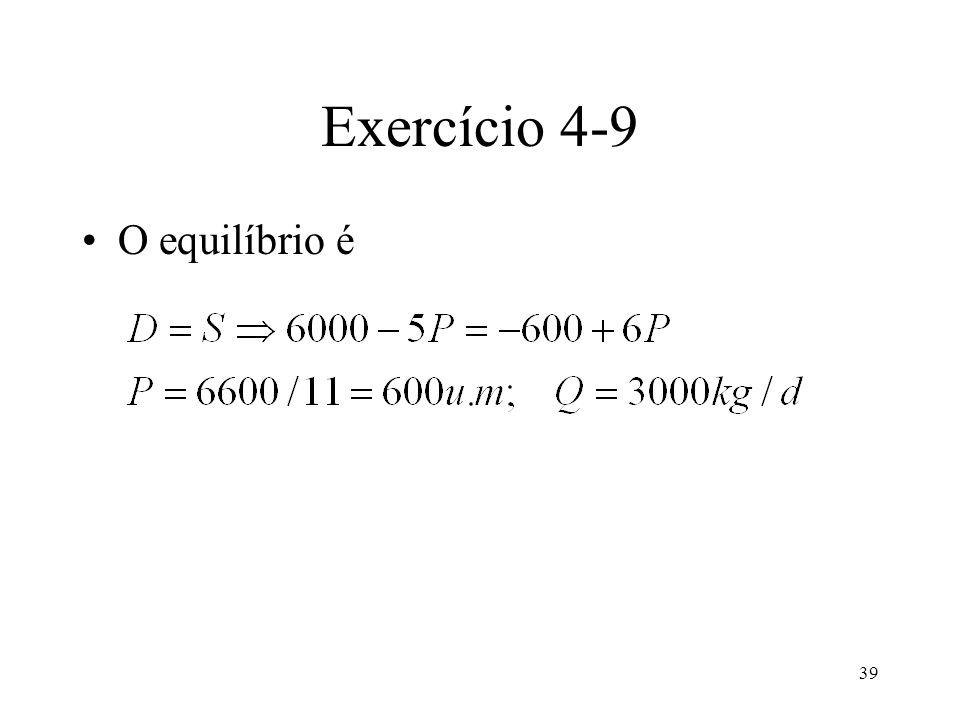 39 Exercício 4-9 O equilíbrio é