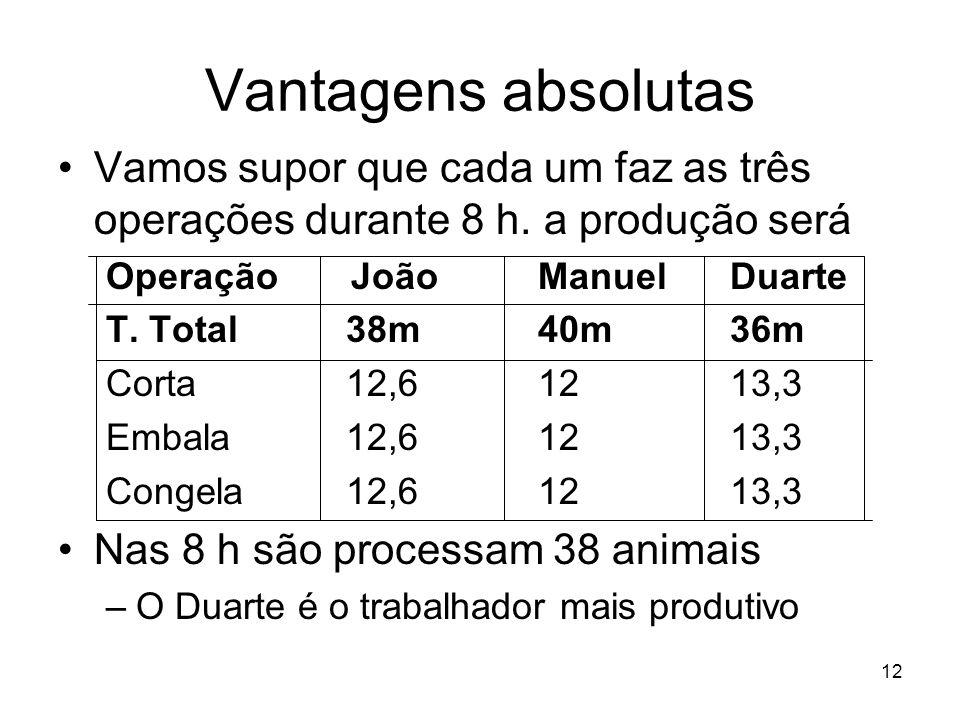12 Vantagens absolutas Vamos supor que cada um faz as três operações durante 8 h. a produção será Operação JoãoManuelDuarte T. Total38m40m36m Corta12,