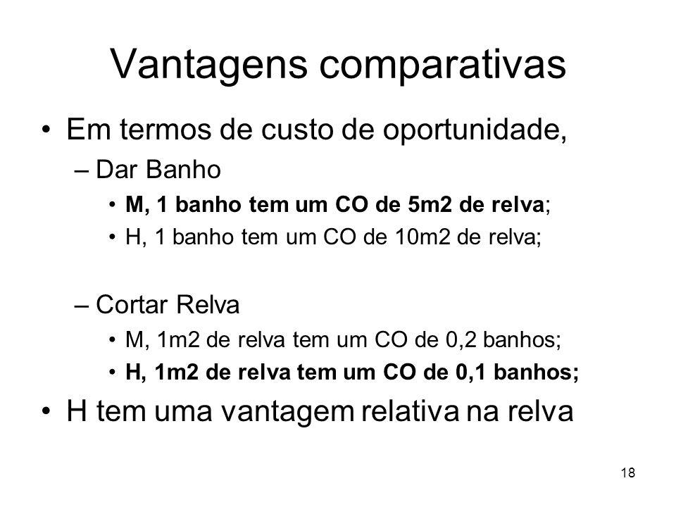 18 Vantagens comparativas Em termos de custo de oportunidade, –Dar Banho M, 1 banho tem um CO de 5m2 de relva; H, 1 banho tem um CO de 10m2 de relva;