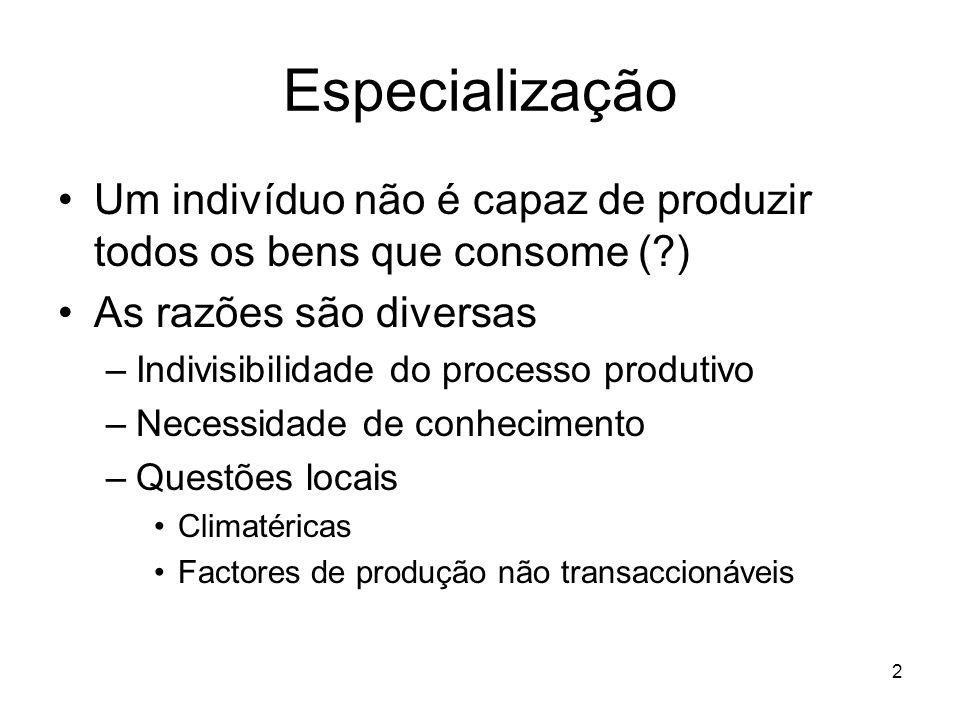 2 Especialização Um indivíduo não é capaz de produzir todos os bens que consome (?) As razões são diversas –Indivisibilidade do processo produtivo –Ne
