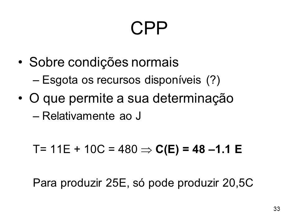 33 CPP Sobre condições normais –Esgota os recursos disponíveis (?) O que permite a sua determinação –Relativamente ao J T= 11E + 10C = 480 C(E) = 48 –