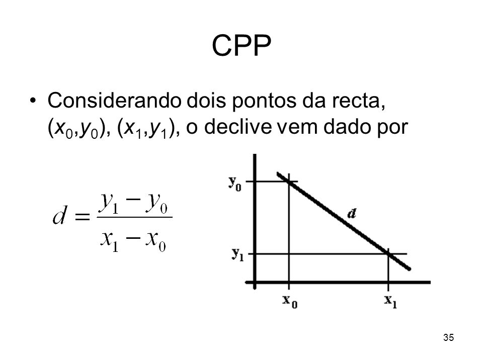 35 CPP Considerando dois pontos da recta, (x 0,y 0 ), (x 1,y 1 ), o declive vem dado por