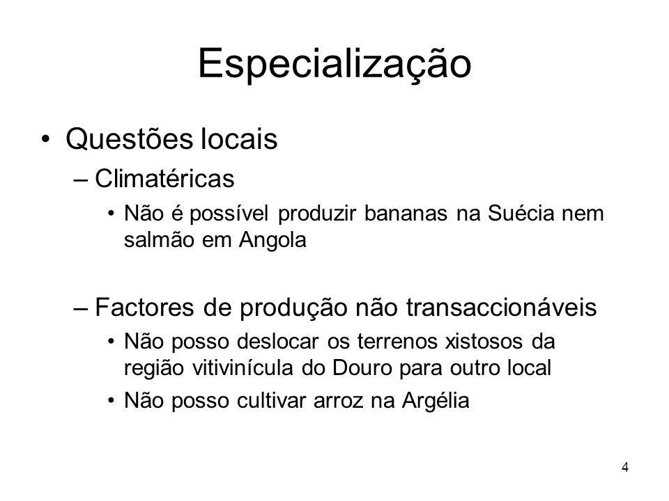 4 Especialização Questões locais –Climatéricas Não é possível produzir bananas na Suécia nem salmão em Angola –Factores de produção não transaccionáve