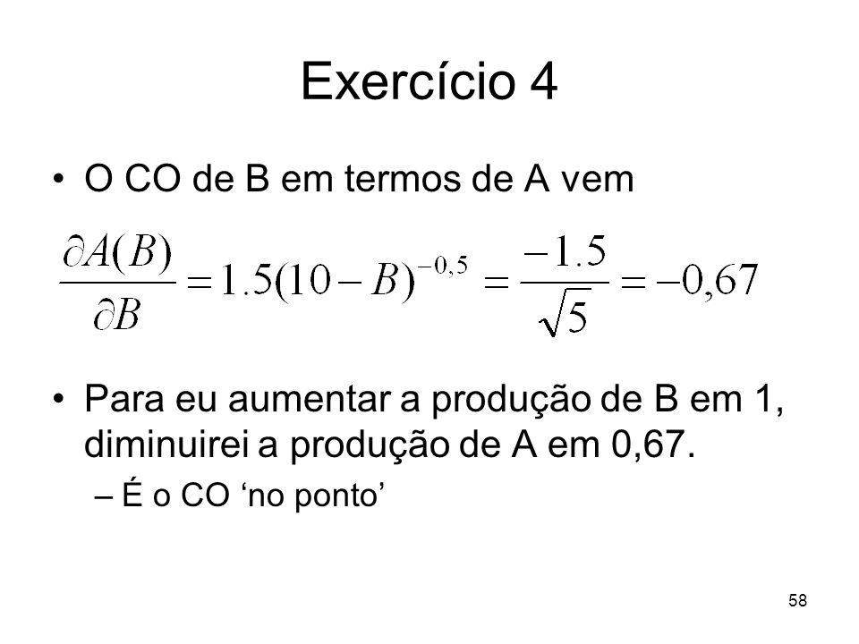 58 Exercício 4 O CO de B em termos de A vem Para eu aumentar a produção de B em 1, diminuirei a produção de A em 0,67. –É o CO no ponto