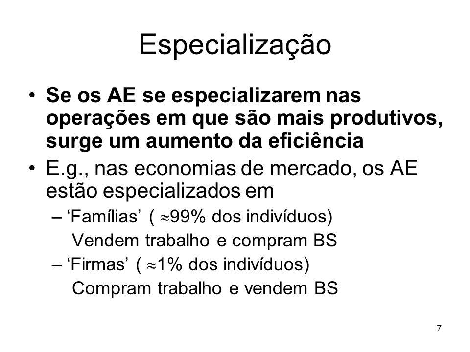 7 Especialização Se os AE se especializarem nas operações em que são mais produtivos, surge um aumento da eficiência E.g., nas economias de mercado, o
