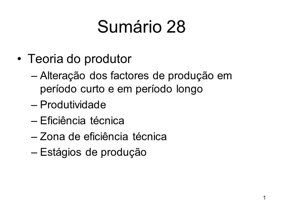 1 Sumário 28 Teoria do produtor –Alteração dos factores de produção em período curto e em período longo –Produtividade –Eficiência técnica –Zona de ef