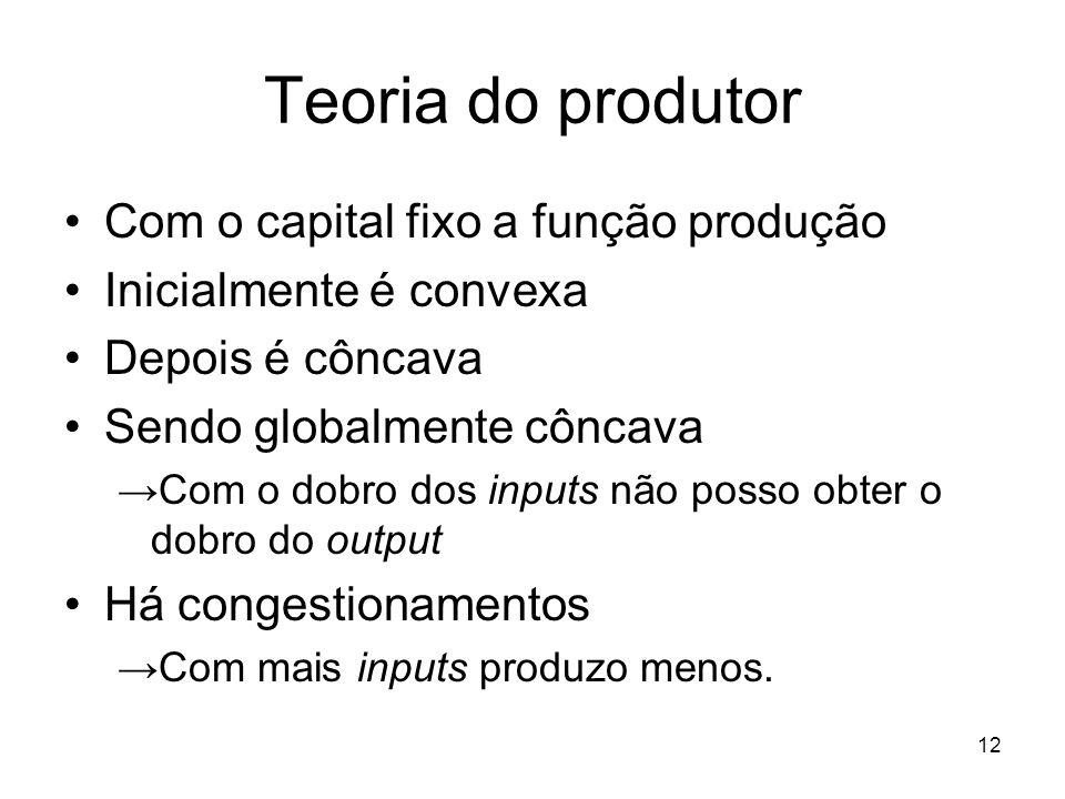 12 Teoria do produtor Com o capital fixo a função produção Inicialmente é convexa Depois é côncava Sendo globalmente côncava Com o dobro dos inputs nã