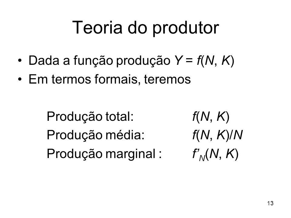 13 Teoria do produtor Dada a função produção Y = f(N, K) Em termos formais, teremos Produção total: f(N, K) Produção média:f(N, K)/N Produção marginal