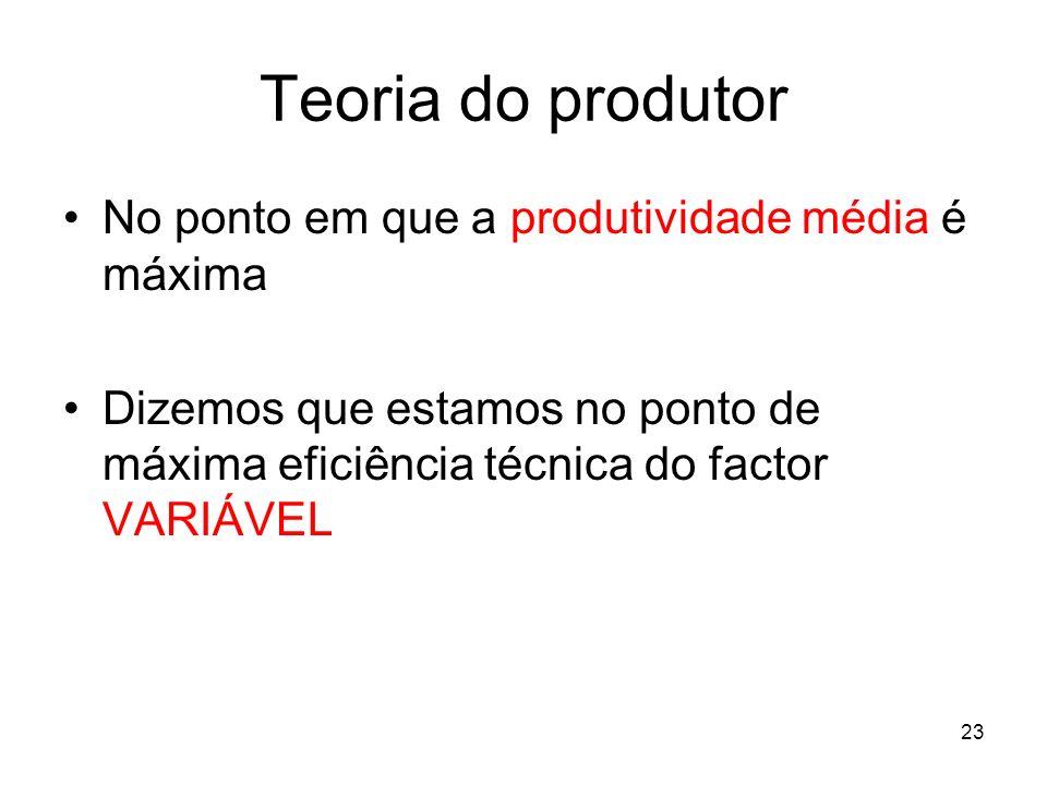23 Teoria do produtor No ponto em que a produtividade média é máxima Dizemos que estamos no ponto de máxima eficiência técnica do factor VARIÁVEL