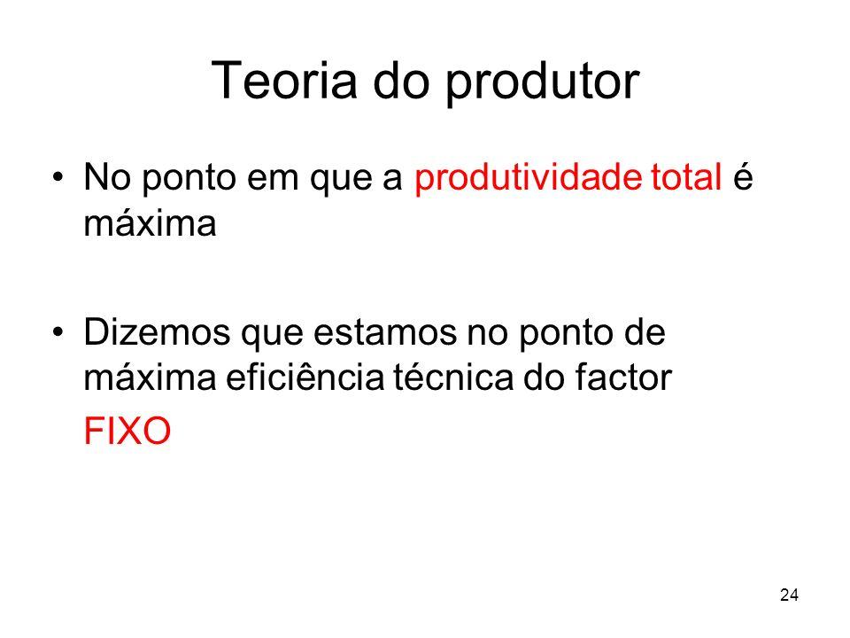 24 Teoria do produtor No ponto em que a produtividade total é máxima Dizemos que estamos no ponto de máxima eficiência técnica do factor FIXO