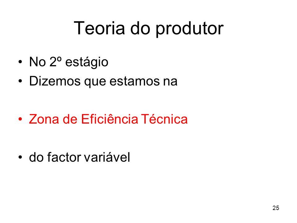 25 Teoria do produtor No 2º estágio Dizemos que estamos na Zona de Eficiência Técnica do factor variável
