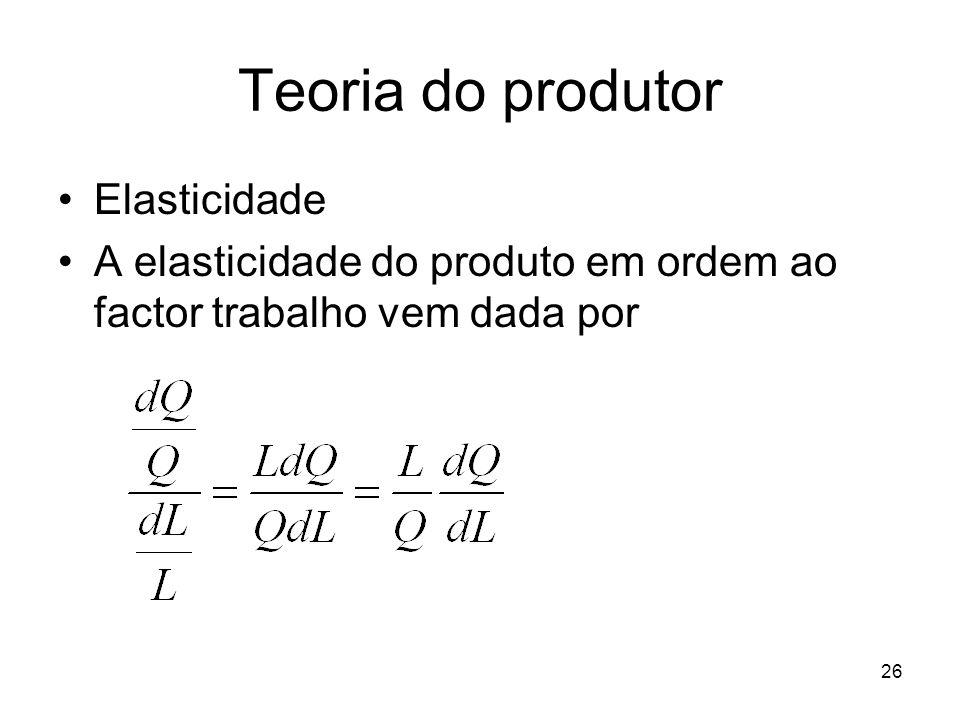 26 Teoria do produtor Elasticidade A elasticidade do produto em ordem ao factor trabalho vem dada por