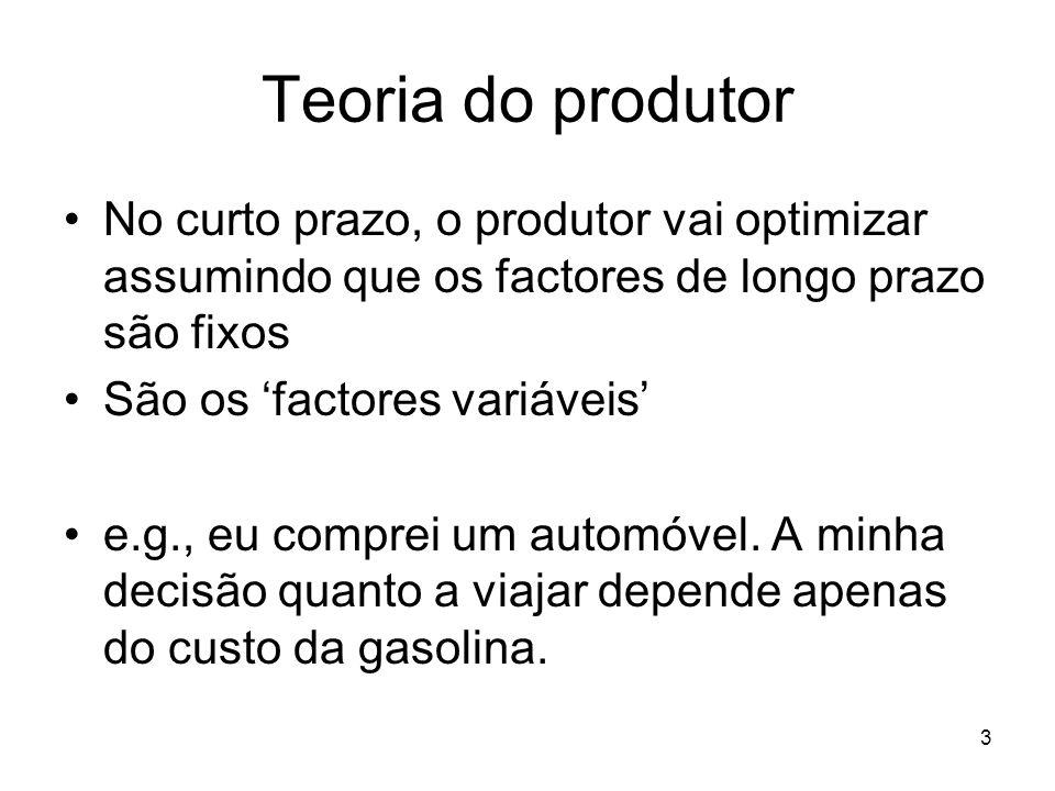 3 Teoria do produtor No curto prazo, o produtor vai optimizar assumindo que os factores de longo prazo são fixos São os factores variáveis e.g., eu co