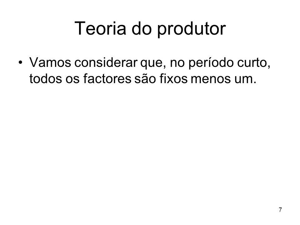 7 Teoria do produtor Vamos considerar que, no período curto, todos os factores são fixos menos um.