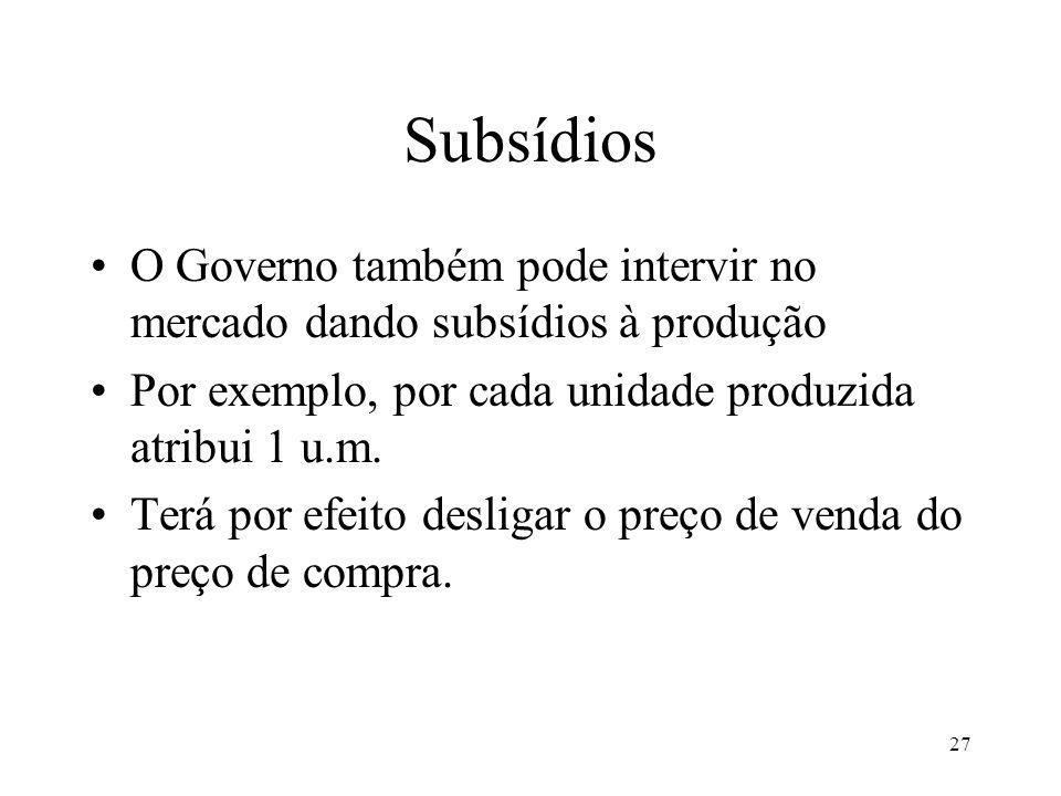 27 Subsídios O Governo também pode intervir no mercado dando subsídios à produção Por exemplo, por cada unidade produzida atribui 1 u.m. Terá por efei