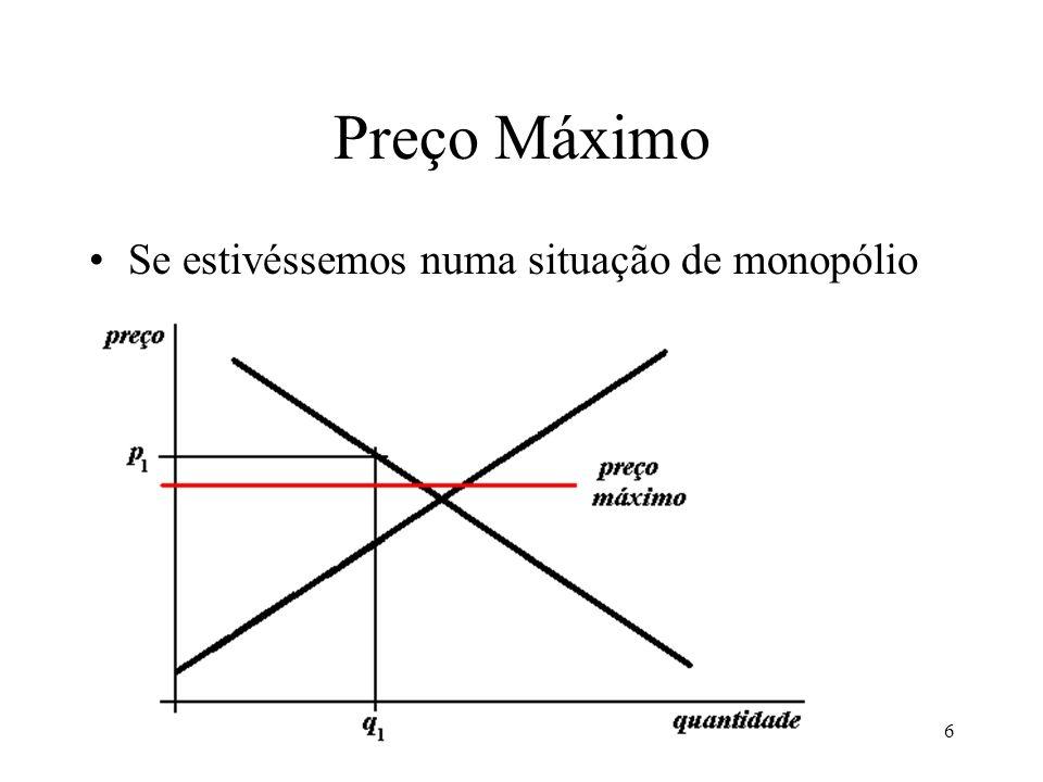 7 Preço Máximo A imposição de um preço máximo menor aproxima o mercado do ECP: –Diminui o preço –Aumenta a quantidade Isso é bom para os compradores