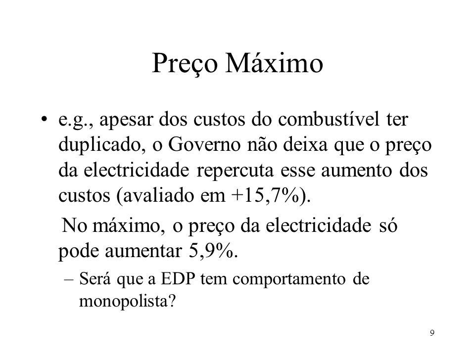9 Preço Máximo e.g., apesar dos custos do combustível ter duplicado, o Governo não deixa que o preço da electricidade repercuta esse aumento dos custo